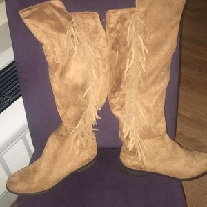 Suede Tan Fringe knee boots